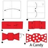 Instructions étape-par-étape comment faire à origami une sucrerie illustration de vecteur