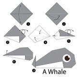Instructions étape-par-étape comment faire la baleine d'origami Photos stock