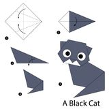 Instructions étape-par-étape comment faire à origami un chat noir Images stock