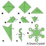 Instructions étape-par-étape comment faire à origami un cristal de neige Photographie stock libre de droits
