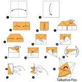 Instructions étape-par-étape comment faire à origami un Fox bavard Images libres de droits