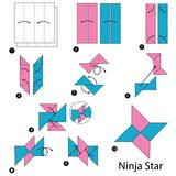 Instructions étape-par-étape comment faire à origami un Ninja Star illustration libre de droits