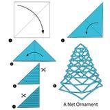 Instructions étape-par-étape comment faire à origami un ornement net Images libres de droits