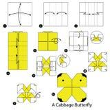 Instructions étape-par-étape comment faire à origami un papillon de chou Images stock