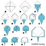 Instructions étape-par-étape comment faire à origami une économie de poisson rouge Photo libre de droits
