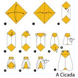 Instructions étape-par-étape comment faire à origami une cigale Images stock