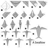 Instructions étape-par-étape comment faire à origami une hirondelle Photo stock