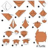 Instructions étape-par-étape comment faire à origami une tortue Image stock