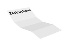 Instructions. Illustration of a blank instructions paper over white background Stock Image
