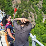 Instructions before a bungee jump Stock Photography