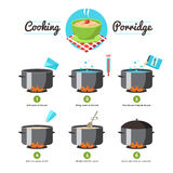 Instructions For Cooking Porridge. Step by step set icons instruction for the preparation of cooking porridge vector illustration Stock Photo