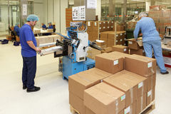 Instructions de roulement pour des médicaments sur l'usine de Solopharm Photo libre de droits