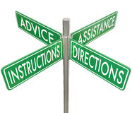 Instructions Directions Advice Assistance Four 4 Way Intersectio Royalty Free Stock Images