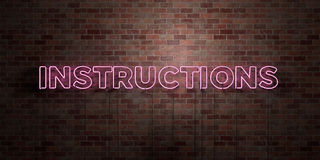 INSTRUCTIONS - fluorescent Neon tube Sign on brickwork - Front view - 3D rendered royalty free stock picture Royalty Free Stock Photography