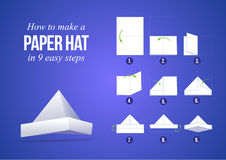 Instructions how to make a paper hat. In 9 steps with purple background, DIY (do it yourself stock illustration