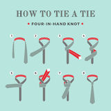 Instructions on how to tie a tie on the turquoise background of the eight steps. Four in Hand knot . Vector Illustration Royalty Free Stock Image