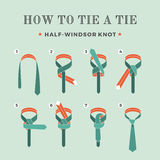 Instructions on how to tie a tie on the turquoise background of the eight steps. Half-Windsor knot . Vector Illustration Stock Photo