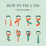 Instructions on how to tie a tie on the turquoise background of the eight steps. Kelvin knot . Vector Illustration. Royalty Free Stock Images