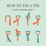 Instructions on how to tie a tie on the turquoise background of the eight steps. Knot Pratt-Shelby. Vector Illustration. Instructions on how to tie a tie on the Stock Photos