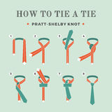 Instructions on how to tie a tie on the turquoise background of the eight steps. Knot Pratt-Shelby. Vector Illustration. Royalty Free Stock Images