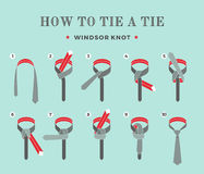 Instructions on how to tie a tie on the turquoise background of the eight steps. Windsor knot . Vector Illustration. Royalty Free Stock Photos