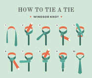 Instructions on how to tie a tie on the turquoise background of the eight steps. Windsor knot . Vector Illustration. Stock Photography