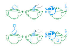 Instructions for making tea. Two versions of instructions for making tea or drink Stock Photo
