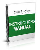 Instructions Manual. An illustration of a step-by-step instructions manual stock illustration