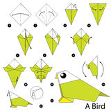 instructions tape par tape comment faire l 39 oiseau d 39 origami illustration de vecteur image. Black Bedroom Furniture Sets. Home Design Ideas