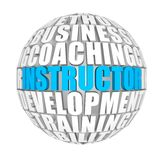 Instructor. Circle words on the ball on the topics Royalty Free Stock Photo