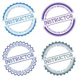 Instructor badge isolated on white background. Flat style round label with text. Circular emblem vector illustration Stock Photo
