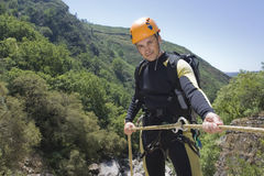 Instructor of canyoning Royalty Free Stock Photo