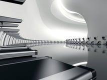 Instructor cruzado elíptico del gimnasio moderno futurista stock de ilustración