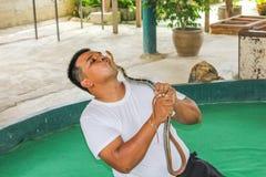 Instructor de la serpiente con la cobra real Fotografía de archivo libre de regalías