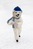 Instructor disguised as a polar bear in the skating rink in MUni Royalty Free Stock Images
