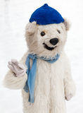 Instructor disguised as a polar bear in the skating rink in MUni Stock Photo