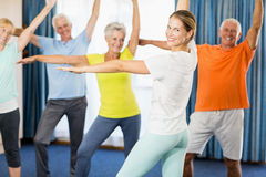 Instructor doing exercises with seniors Royalty Free Stock Photography