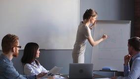 Instructor femenino corporativo del negocio que discute a empleados financieros del entrenamiento del gráfico almacen de video