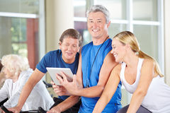 Instructor in gym with senior group Stock Photos