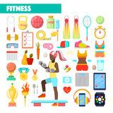 Instructor Healthy Lifestyle Icons de la aptitud con el ejercicio de la mujer libre illustration