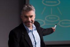 Instructor maduro que señala en la pantalla con la presentación Fotografía de archivo