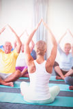 Instructor performing yoga with seniors. During sports class Stock Images