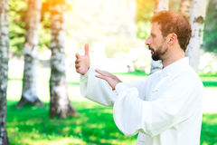 An instructor practice of Tai Chi Chuan in the park. An instructor practice  of Tai Chi Chuan in the park. Detail of hand positions Royalty Free Stock Image
