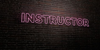 INSTRUCTOR -Realistic Neon Sign on Brick Wall background - 3D rendered royalty free stock image Royalty Free Stock Images