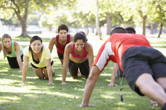 Instructor Running Fitness Boot Camp Royalty Free Stock Photo
