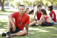 Instructor Running Fitness Boot Camp Stock Photos