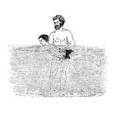 Instructor teaches a kid to swim. Vintage illustration,teaching to swim Royalty Free Stock Photo