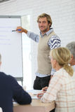 Instructor teaching seniors business techniques Royalty Free Stock Photo