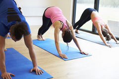 Instructor With Yoga Class At Gym Stock Photo