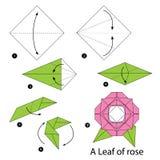 Instruções passo a passo como fazer a origâmi uma folha de Rosa Fotografia de Stock